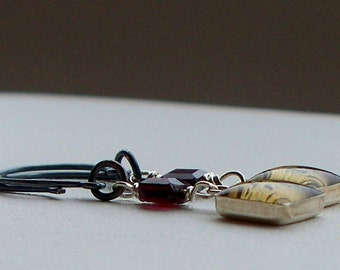 Dictionary Word charms Dilly Dally with garnets on Sterling Silver Handmade ear wires