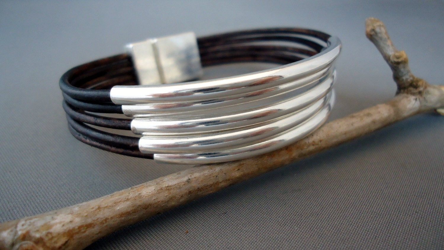Dark,Brown,Leather,Sterling,Silver,Tubes,Bracelet,/,Cuff,Jewelry,sterling,sterling_silver,leather,leather_cuff,silver_cuff,iseadesigns,leather_bracelet,sterling_bracelet,sterling_cuff,boho,chic_bracelet,sterling silver,silver plated casting