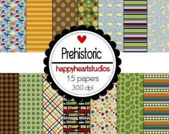 Digital Scrapbook Prehistoric-INSTANT DOWNLOAD