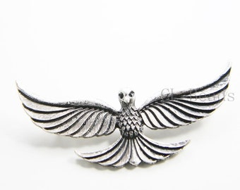 2pcs Oxidized Silver Tone Base Metal Pendant  - Eagle 30x61mm (194C-Q-136)