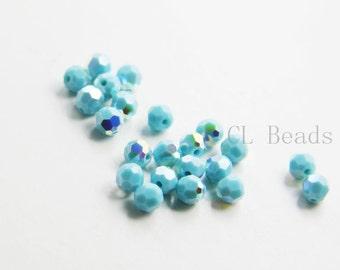 10pcs Swarovski 5000 Round Crystal - Turquoise AB 4mm (SW1335267)
