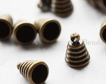 10pcs Antique Brass Base Findings - Cap - Cone - 11x8mm (457C-K-262)