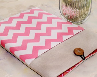 Ipad Sleeve with Pocket, Ipad Mini Sleeve with Pocket, Tablet Cases and Covers in Pink Chevron and Linen