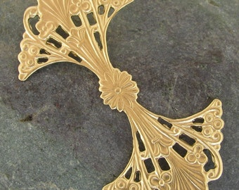 Raw Brass Filigree Findings Round 312 - 6 pieces - New