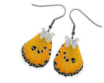 Real Butterfly Wing Earrings (Danaus Chrysippus Hindwing - E199)