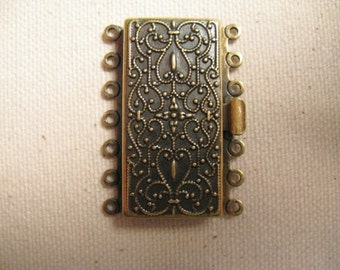 """Vintage Look Brass Clasp - 7 strand -35.4mm x 16.7mm (1.41""""x 0.7"""") - 1 Clasp - nickel and lead free"""