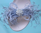 Whimsical Ostrich Feathers Bows Shoe Clips Set of Two More Colors Available