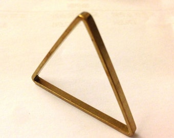 10 pieces of cut raw brass tube outline charm in triangle geometric shape deco 40x2.5mm