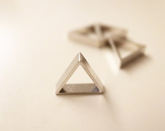 24 pieces of newly cut raw brass thick tube outline charm in tiny triangle 10x2.5mm thick plated in steel color