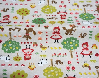 ON SALE Cotton Linen Little red Riding  Hood 50 cm by 106 cm or 19.6 by 42 inch nc55