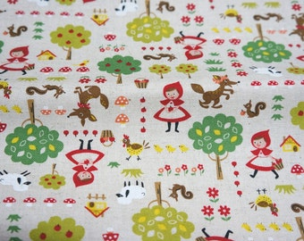 ON SALE Cotton Linen Little red Riding  Hood 50 cm by 106 cm or 19.6 by 42 inch A27