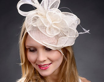 Fascinator White for weddings Derby Ascot garden parties tea parties summer events etc