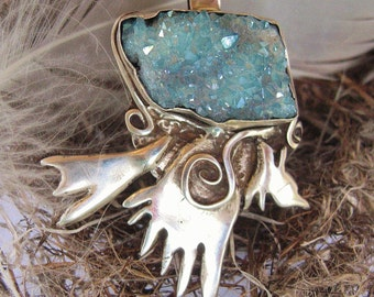 Spirit Bird, Eagle pendant, aqua aura quartz in sterling silver, Symbolic bird fetish jewelry with druzy quartz stone