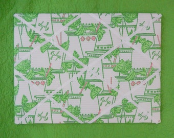 New memo board made with Lilly Pulitzer Just Add Mint fabric