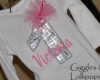 Girls personalized 1st birthday shirt bodysuit