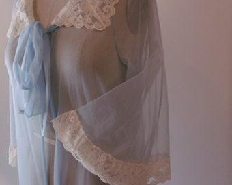 Vintage 60's Sheere Chiffon Baby Blue Robe. Cream Lace Detail. Size M