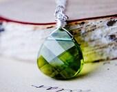 Crystal Necklace, Swarovski Crystal, Crystal Pendant, Sterling Silver, Olive Green, Swarovski Pendant, PoleStar, Flat Briolette,