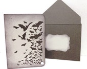 Reserved - Mini greeting card gift card business card holder a cloud of bats on grey paper with crystal and envelope to match