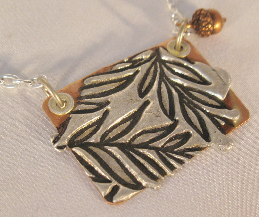 Copper and stamped solder necklace with acorn by for How to solder copper jewelry
