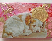 Shabby Chic Victorian Style Brooch with Sleeping Dog Vintage Style Collage Art on Wood -- Let Sleeping Dogs Lie