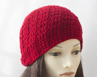 Red Slouchy Beanie, Hand Crochet Hat, Red Vegan Hat