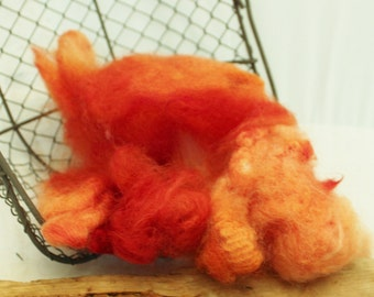 wool locks,Orange Wool, Hand Dyed Romney Locks Orange, Romney wool #623