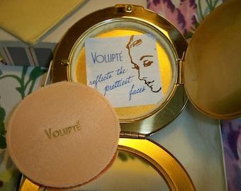 Vintage Volupte Goldtone Compact Mint in Original Box
