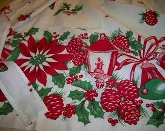 Vintage 1950s Christmas Apron Lanterns with Candles Poinsettias Bells Holly Pinecones