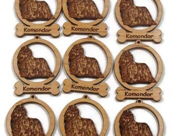 9 Mini Komondor Dog Ornaments