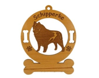 3872 Schipperke Standing Personalized Dog Ornament - Free Shipping