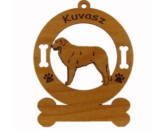 3468 Kuvasz Standing Personalized Wood Ornament