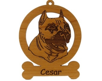 American Pit Bull Ornament 081250 Personalized With Your Dog's Name
