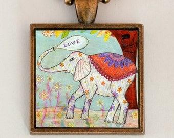 Elephant Necklace, Elephant Jewelry, Elephant Gift, Indian Elephant Pendant, Handmade Square Necklace