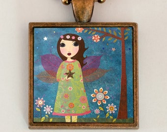 Fairy Pendant Necklace, Children's Gift, Jewelry for Kids, Cute Fairy Pendant,Handmade Jewelry, Fairy Charm
