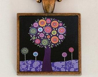 Purple Necklace Handmade Art Jewelry