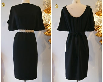 Vintage 1960s Style Sexy Black Cocktail Dress With Low Back an Xtabay Exclusive