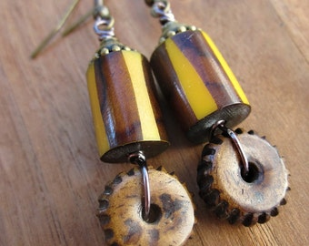 Dyed Bone with Rustic Brass Dangle Earrings: Gear