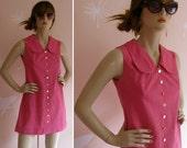 Vintage 1960s Hot Pink Super Mod Micro Mini Scooter Dress