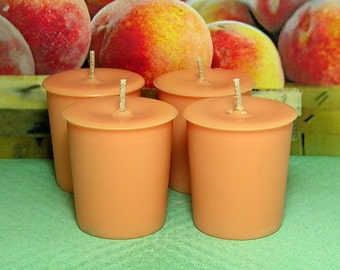 Georgia Peach Votive Candles PURE SOY (Set of 4)