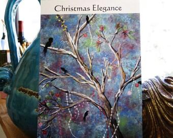 CHRISTMAS ELEGANCE... 8.5 x 5.5 Heavy Card Stock Glossy Christmas Postcard,Holiday card,Christmas art,birds,tree,