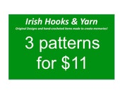 Buy any three crochet patterns and save - choose from Baby Ghillies - Donegal Cap - Soccer cleats - Figure Skates - ice Hockey Skates