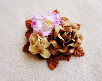 Milk Chocolate and Sugar Pink Mixed bunch Vintage style Millinery Flower spray Bouquet- corsage, floral shabby chic 32114 OOAK
