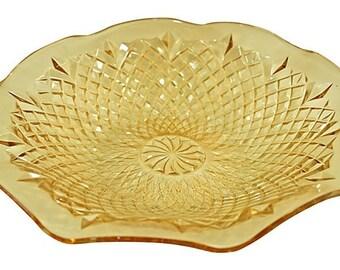 Vintage Scalloped Iridescent Glass Centerpiece Bowl - Diamond Point Pattern, Peachy Amber Carnival Glass Bowl