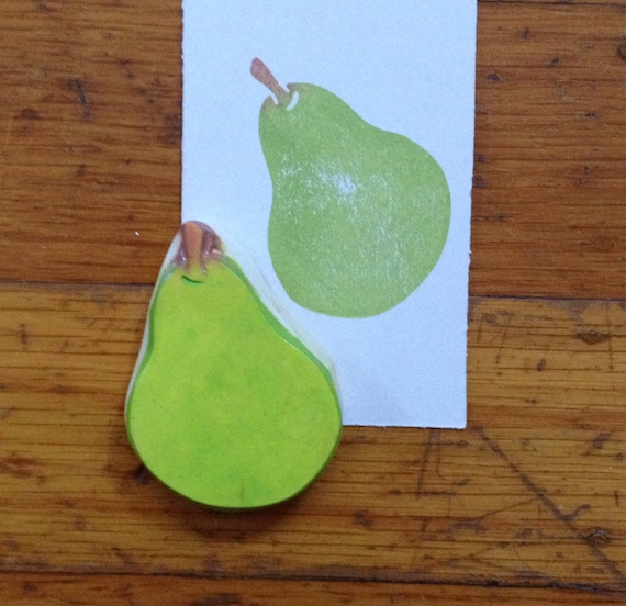 Hand Carved Pear Stamp