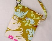 Cell phone holder Acanthus Olive / wristlet purse / camera / ipod /blackberry/ wallet  - Amy Butler Fabric
