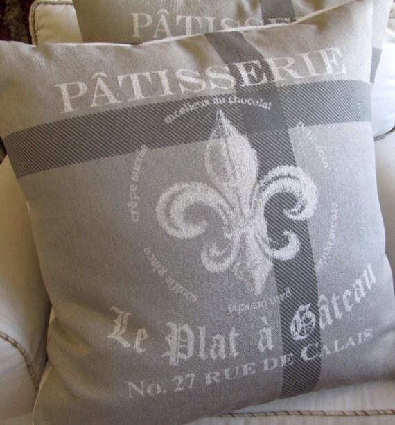 PATISSERIE Fleur De Lis mostly gray designer  Pillow Cover 20x20 22x22 24x24 26x26