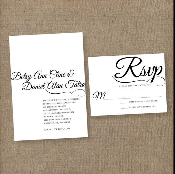 Elegant Wedding Invitation Templates: Modern Elegant Wedding Invitation DIY PRINTABLE By Annamalie