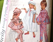 1960s Girls  Pajamas and Nightgown and Cap - Simplicity 5080 Vintage Pattern / Size 3