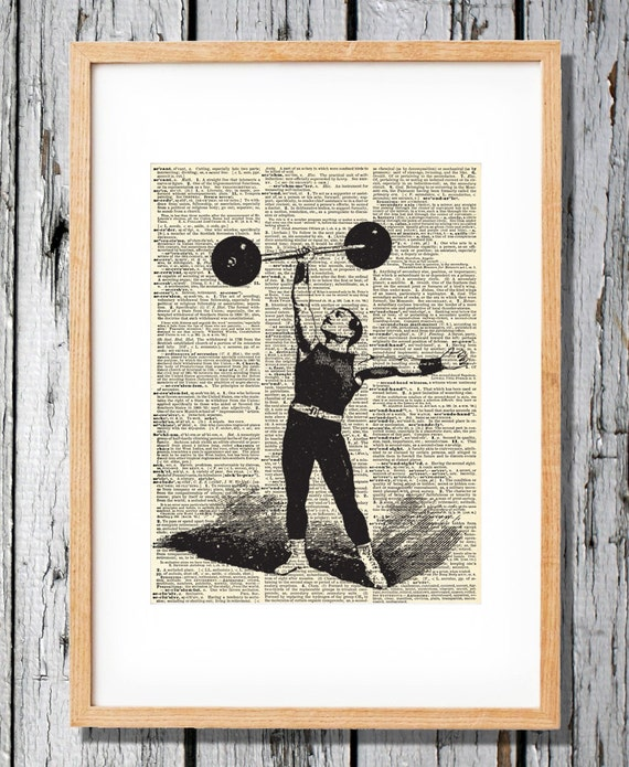 Circus Strong Man - Art Print on Vintage Antique Dictionary Paper - Weight Lifter, freak show