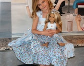 """Tea Party and Dolly Dress PDF Pattern Set, Sizes 6 months through size 8 plus 18"""" Dolly pattern"""